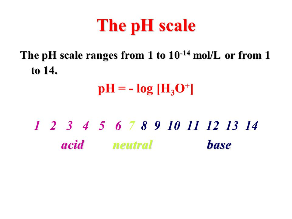 The pH scale pH = - log [H3O+] 1 2 3 4 5 6 7 8 9 10 11 12 13 14
